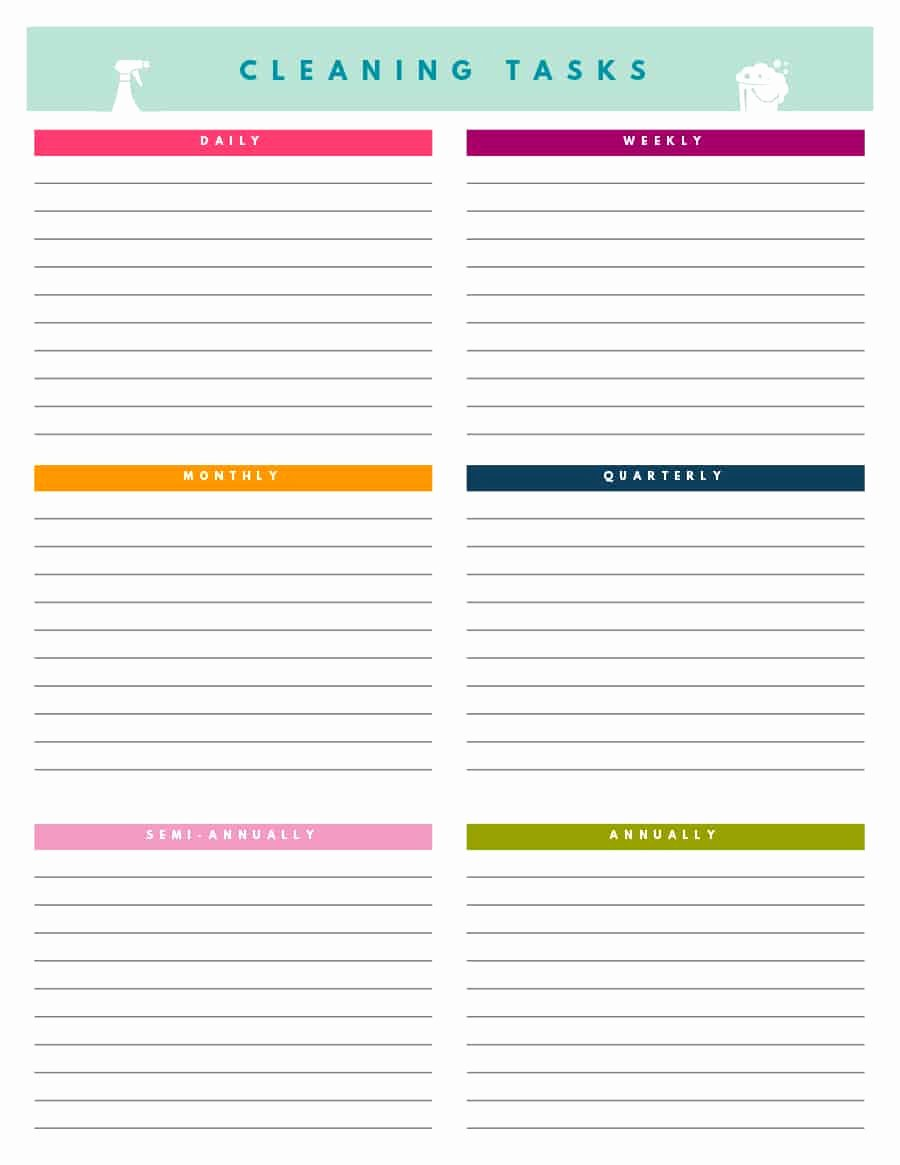 Weekly Cleaning Schedule Template New 40 Printable House Cleaning Checklist Templates Template Lab