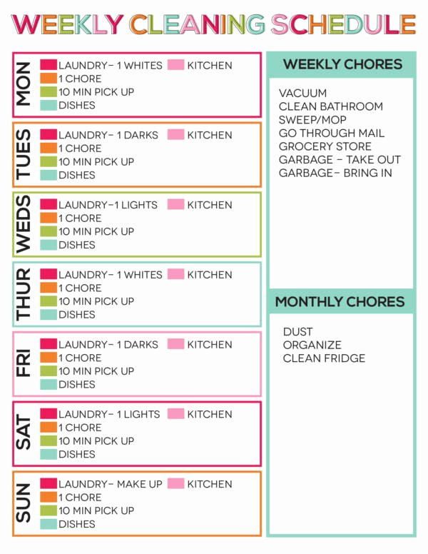 Weekly Cleaning Schedule Template New Free 10 Weekly Task Schedule Samples & Templates In Pdf