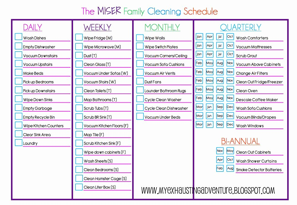 Weekly Cleaning Schedule Template Unique Julie S Exhausting Adventure Cleaning Checklist