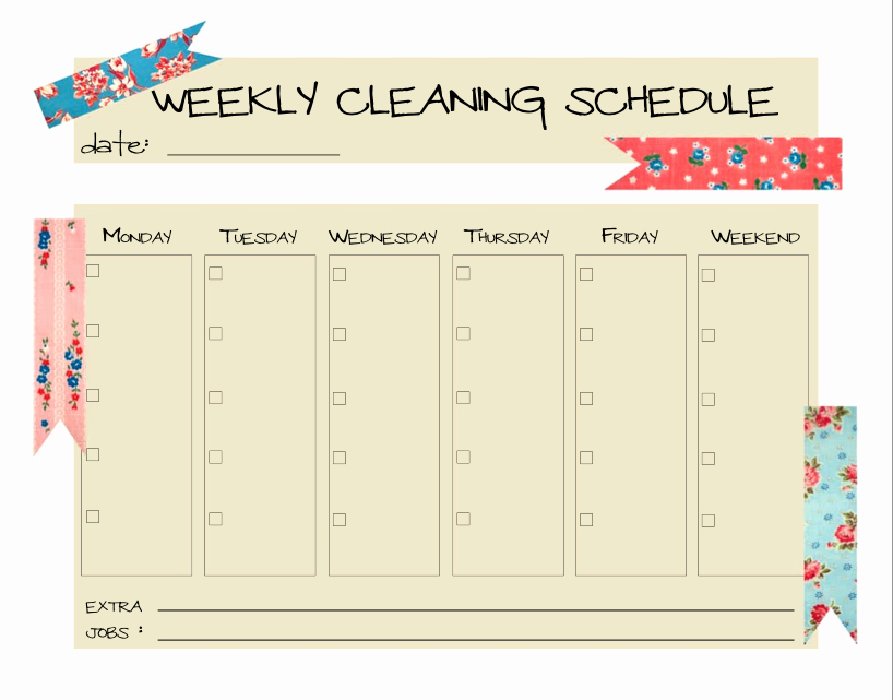 Weekly Cleaning Schedule Template Unique Keepin' It Clean…