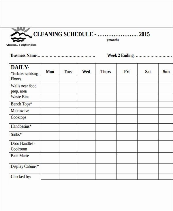 Weekly Cleaning Schedule Template Unique Restaurant Cleaning Schedule Templates 14 Free Word Pdf