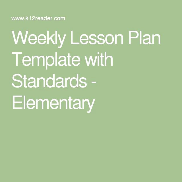 Weekly Lesson Plan Template Elementary Beautiful Best 20 Weekly Lesson Plan Template Ideas On Pinterest
