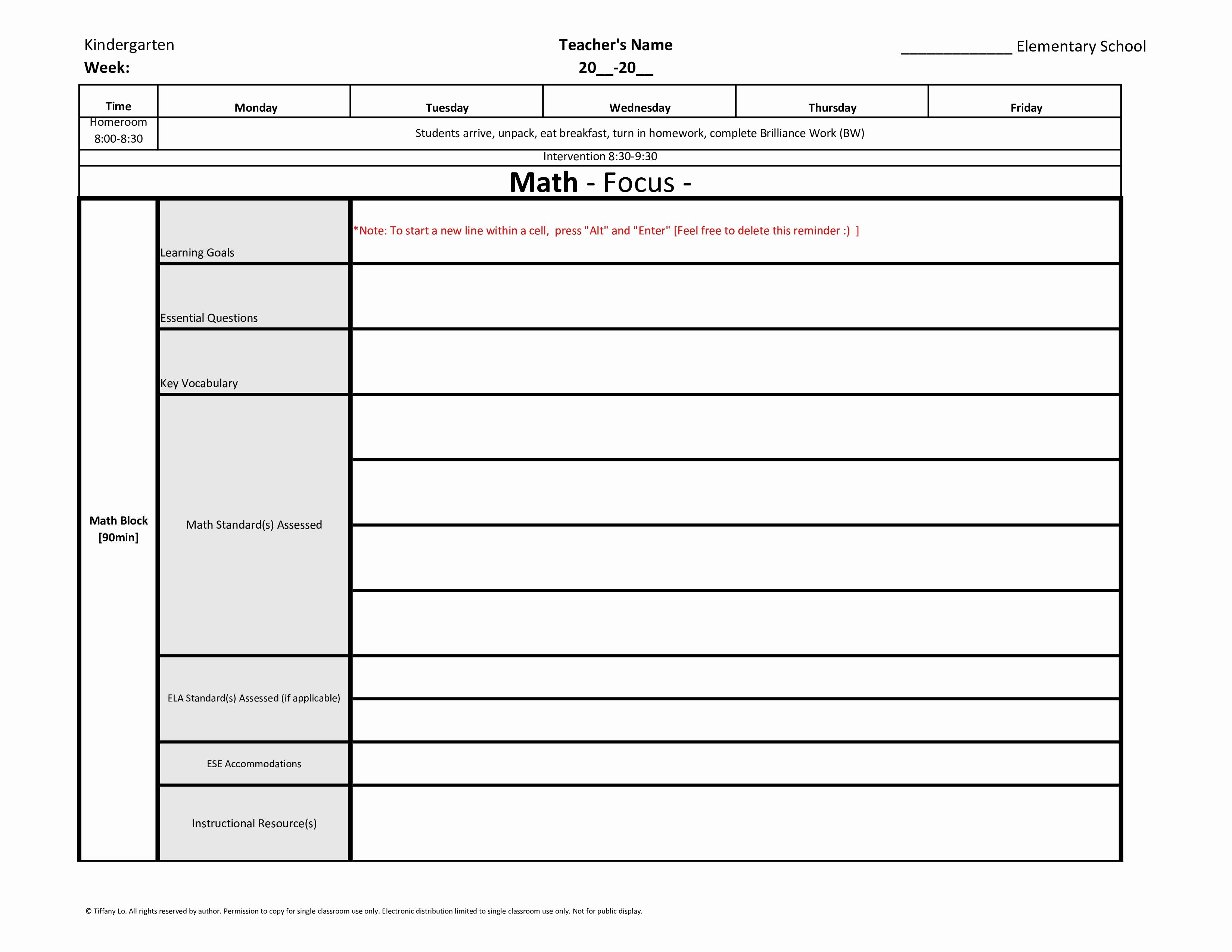 Weekly Lesson Plan Template Elementary Elegant Kindergarten Weekly Lesson Plan Template W Florida