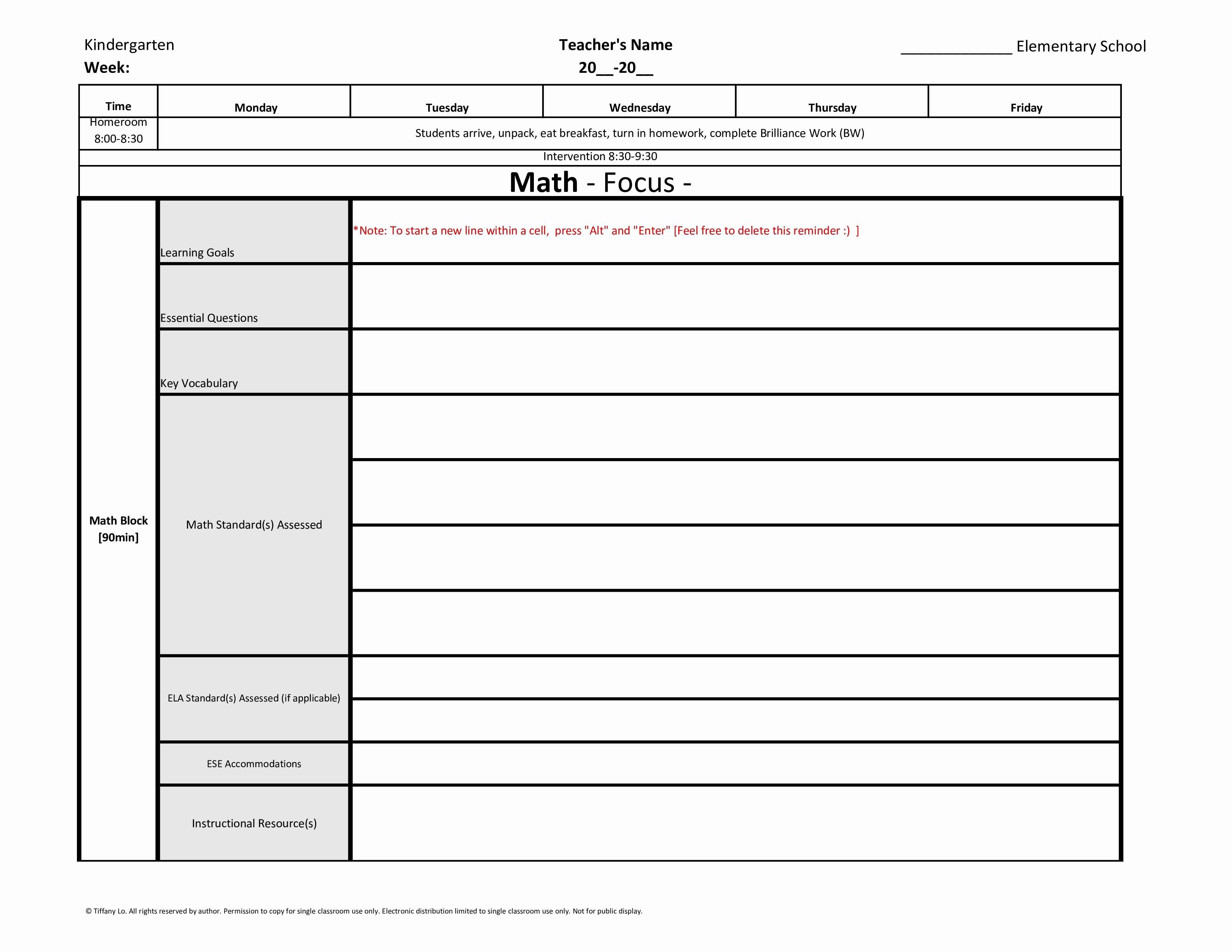 Weekly Lesson Plan Template Elementary Elegant Kindergarten Weekly Lesson Plan Template W Florida