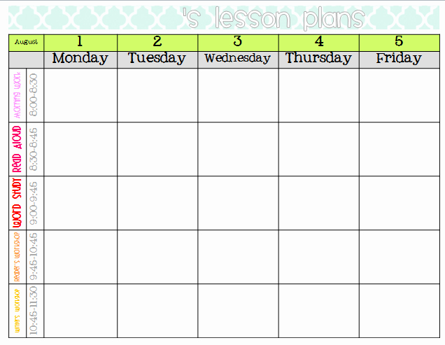 Weekly Lesson Plan Template Elementary Inspirational Elementary organization Two Updated Lesson Plan Templates