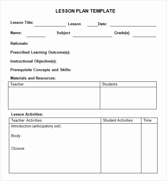 Weekly Lesson Plan Template Elementary Inspirational Free 7 Sample Weekly Lesson Plans In Google Docs