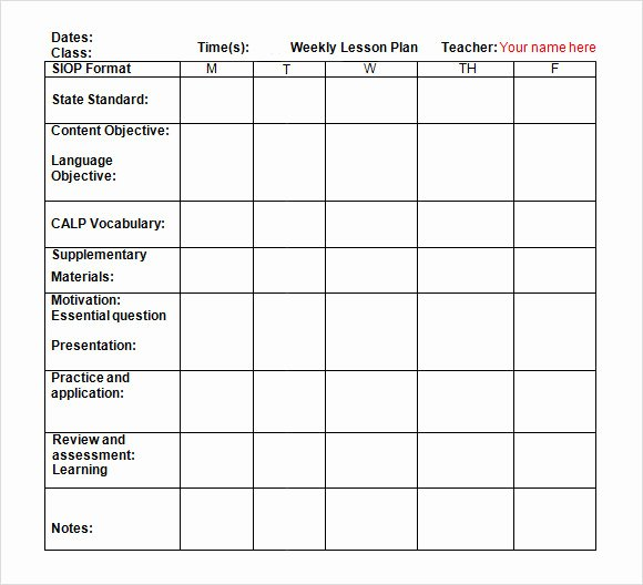 Weekly Lesson Plan Template Elementary Luxury 8 Weekly Lesson Plan Samples