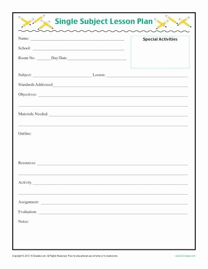 Weekly Lesson Plan Template Elementary Unique Daily Single Subject Lesson Plan Template Elementary