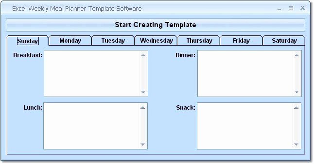 Weekly Meal Planner Template Excel Elegant Excel Weekly Meal Planner Template software Ware