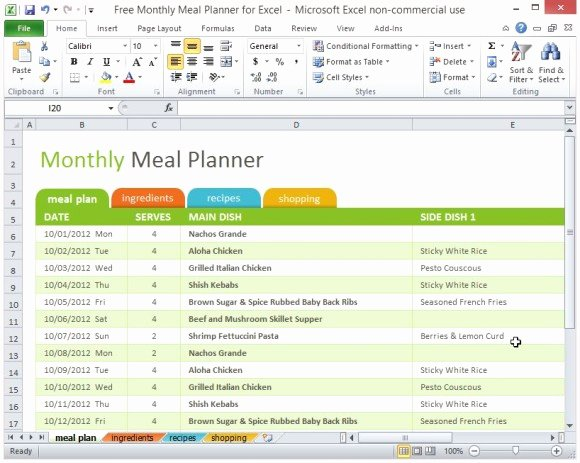 Weekly Meal Planner Template Excel Elegant Free Monthly Meal Planner for Excel