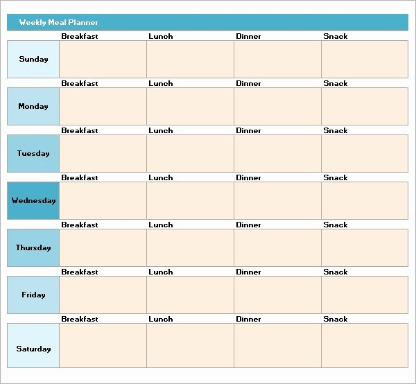 Weekly Meal Planner Template Excel Inspirational Free 17 Meal Planning Templates In Pdf Excel