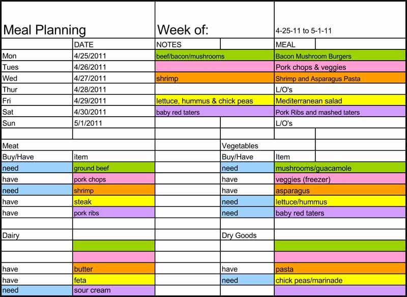 Weekly Meal Planner Template Excel Lovely 25 Free Weekly Daily Meal Plan Templates for Excel and Word