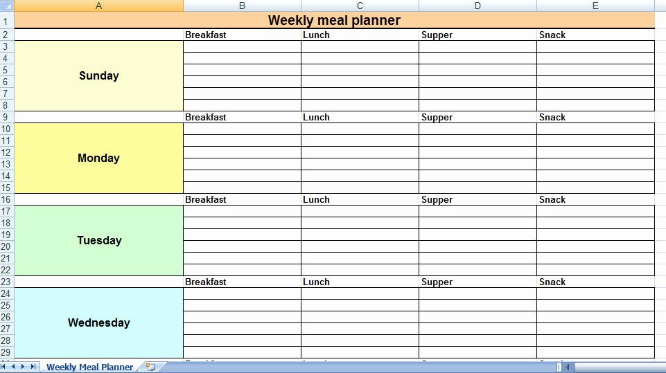 Weekly Meal Planner Template Excel Lovely Excel Most Effective Uses at Home and for Families