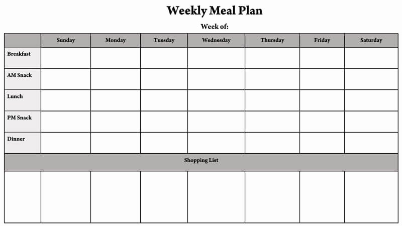 Weekly Meal Planner Template Excel Luxury 25 Free Weekly Daily Meal Plan Templates for Excel and Word