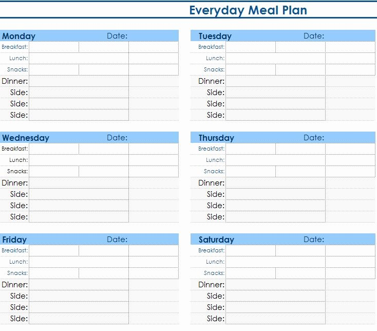 Weekly Meal Planner Template Excel Luxury Daily Meal Planner My Excel Templates