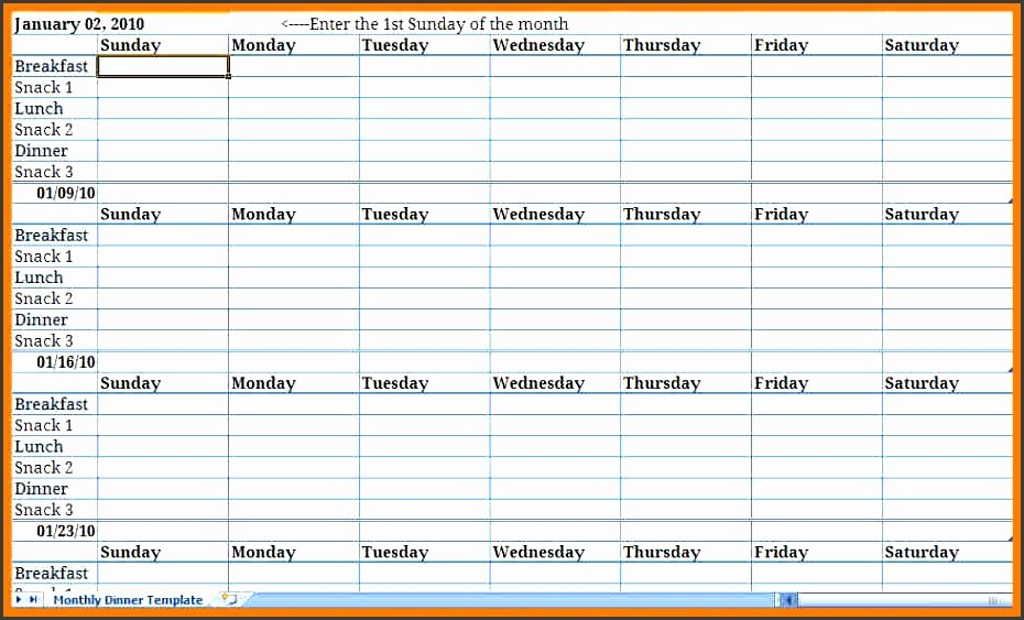 Weekly Meal Planner Template Excel New Monthly Meal Plan Excel Template Archives