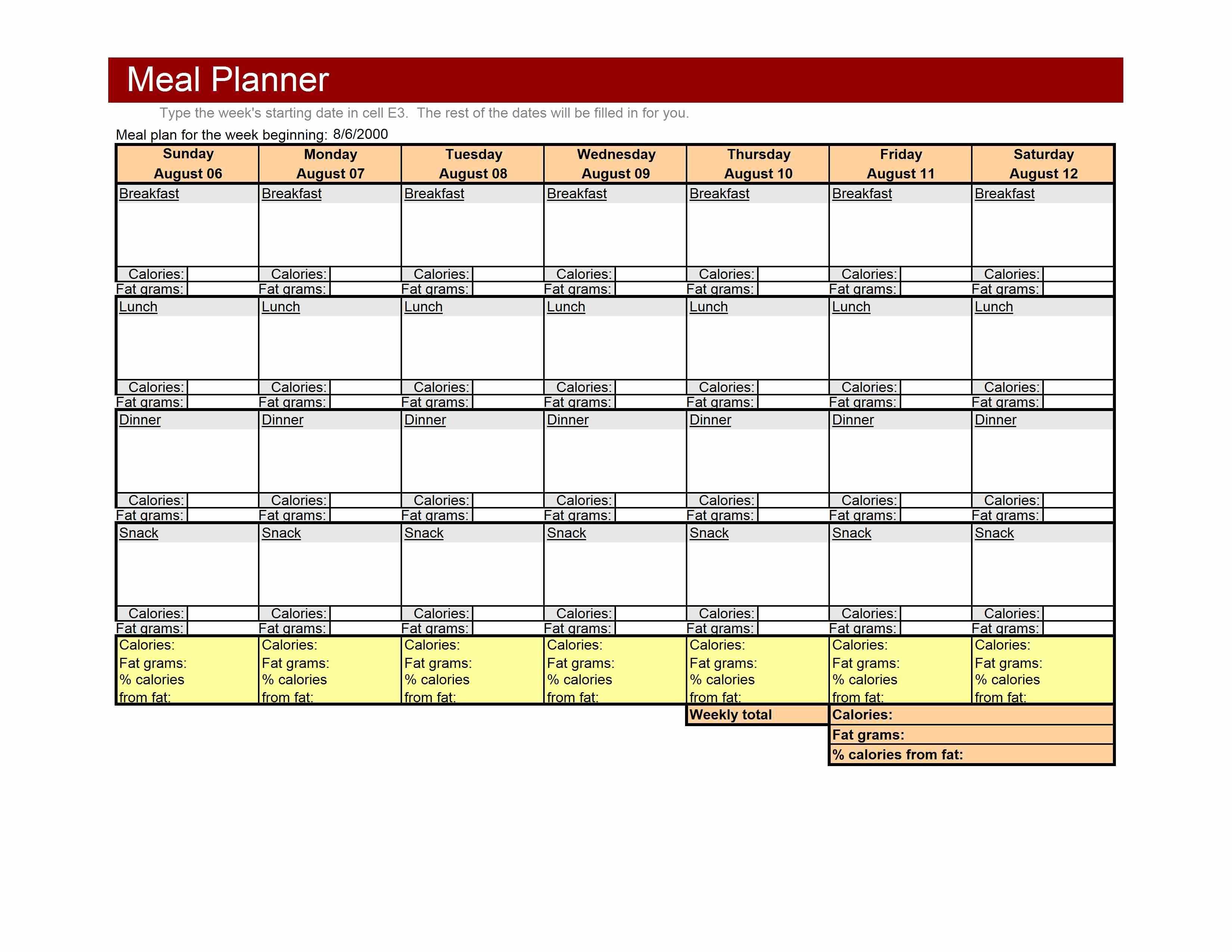 Weekly Meal Planner Template Excel New Weekly Meal Planner Template
