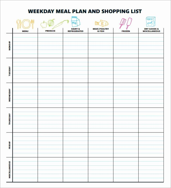 Weekly Meal Planner Template Excel Unique Meal Planning Template 17 Download Free Documents In Pdf