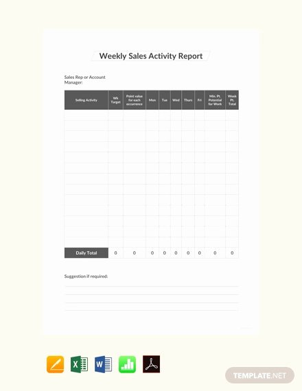 Weekly Sales Reports Templates Elegant 19 Sales Activity Report Templates Word Excel Pdf