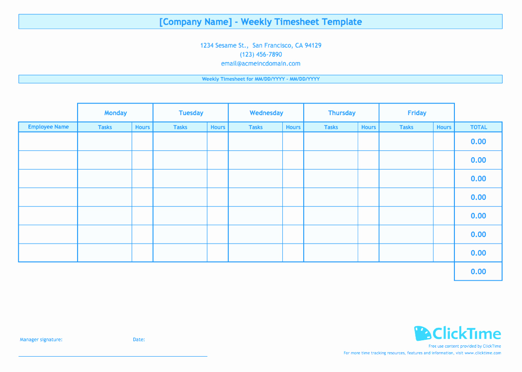 Weekly Timesheet Template Excel Beautiful Weekly Timesheet Template for Multiple Employees