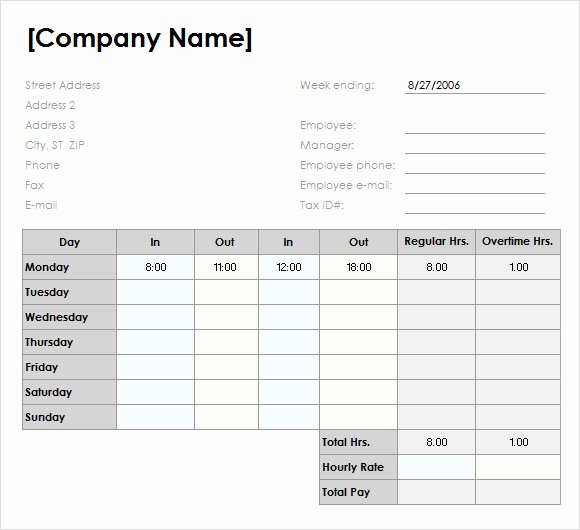 Weekly Timesheet Template Excel Best Of Sample Weekly Timesheet Template 13 Free Documents