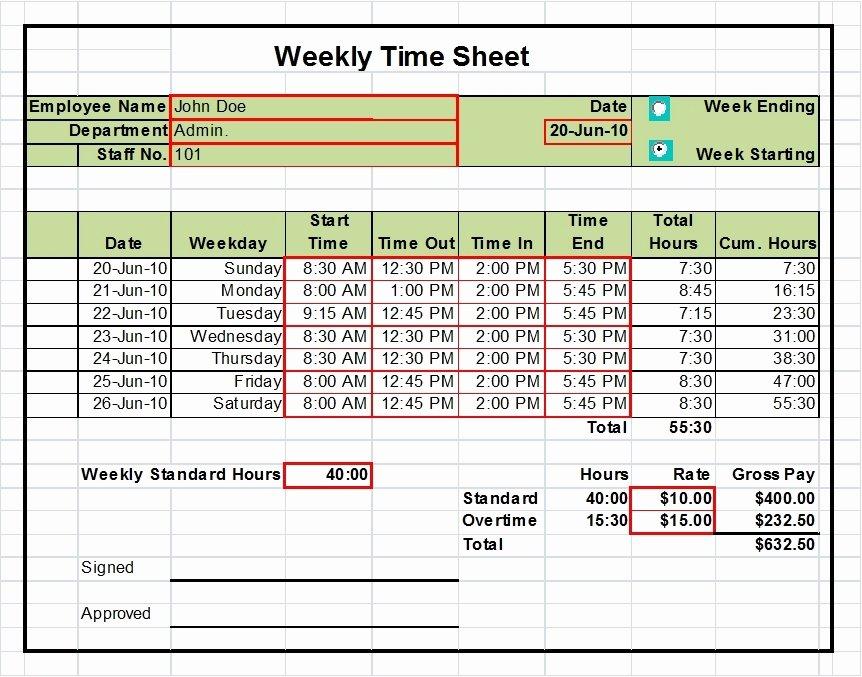 Weekly Timesheet Template Excel Elegant Excel Timesheet Templates