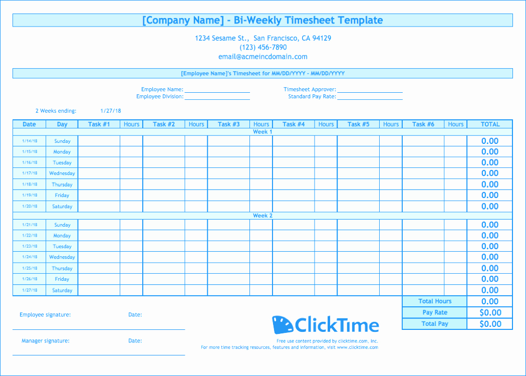 Weekly Timesheet Template Excel Fresh Biweekly Timesheet Template Free Excel Templates