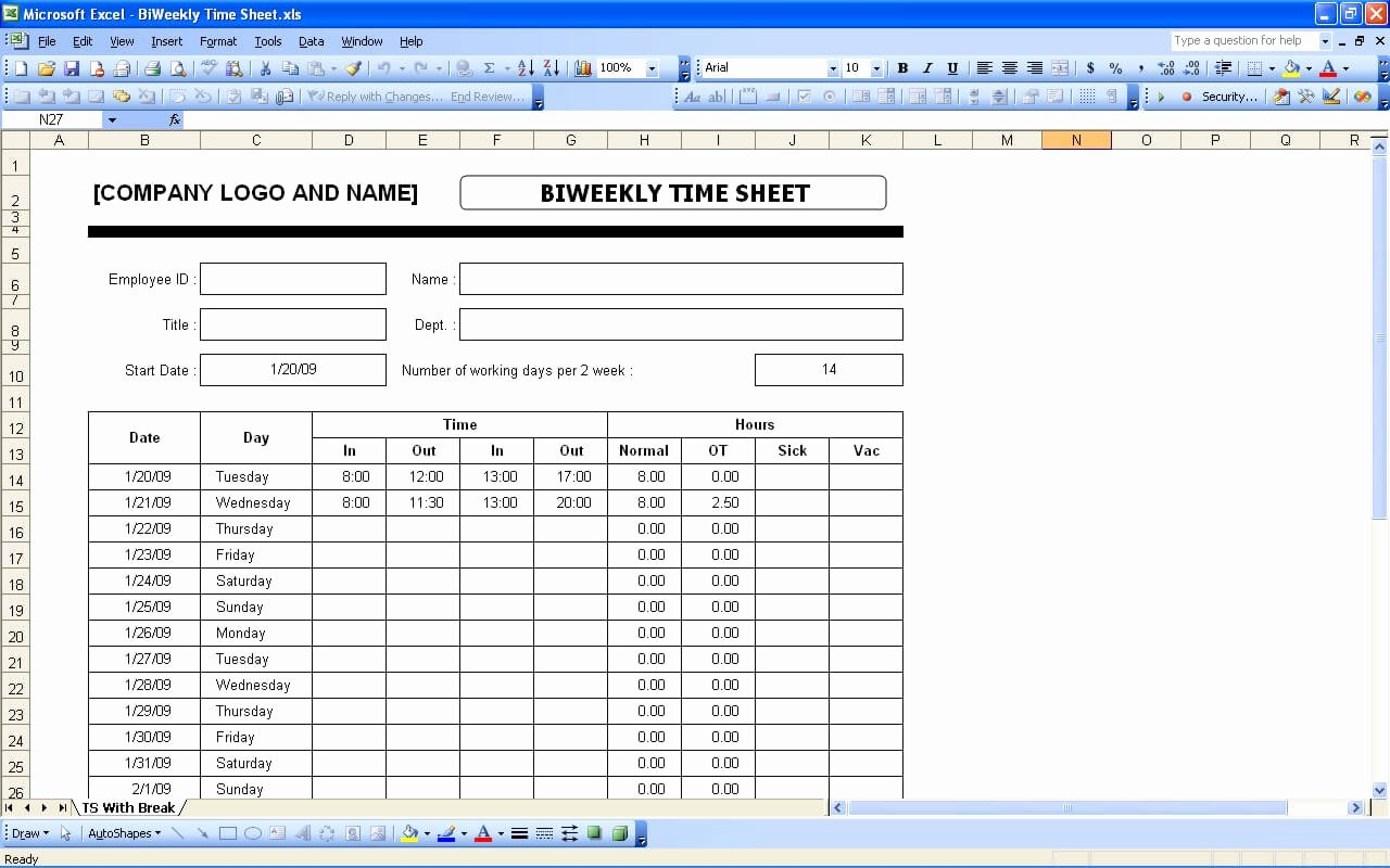 Weekly Timesheet Template Excel Fresh Time Sheets