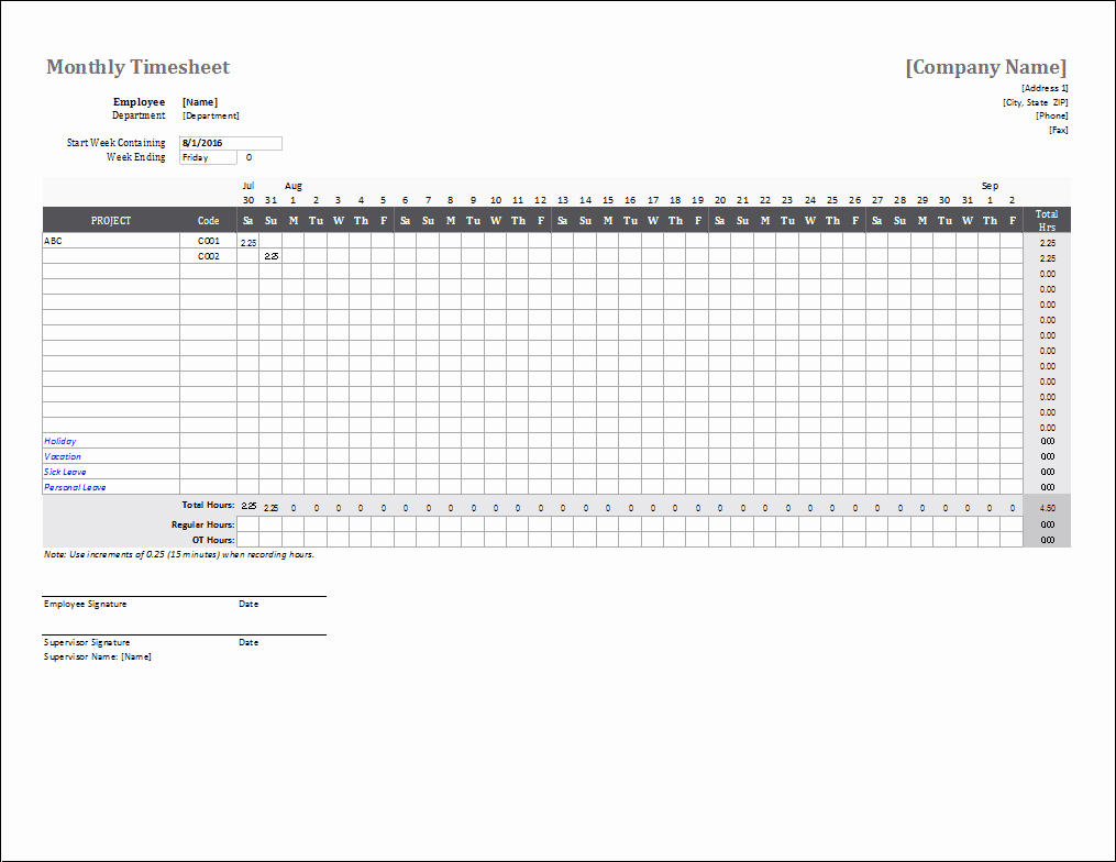 Weekly Timesheet Template Excel Inspirational Monthly Timesheet Template for Excel and Google Sheets