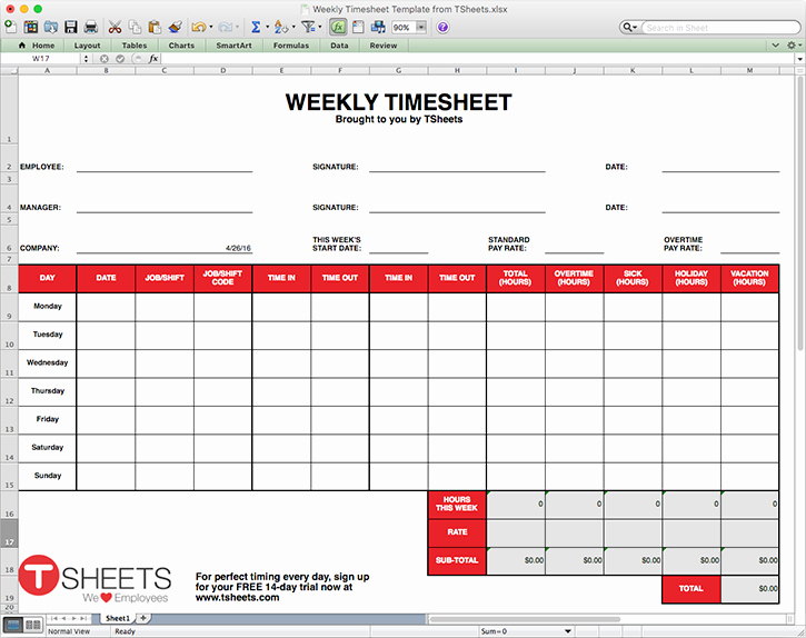 Weekly Timesheet Template Excel Inspirational Timesheet Template Excel Timesheet Monthly Weekly
