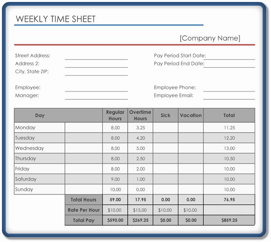 Weekly Timesheet Template Excel Luxury Weekly Timesheet Template – 5 Free Templates In Excel