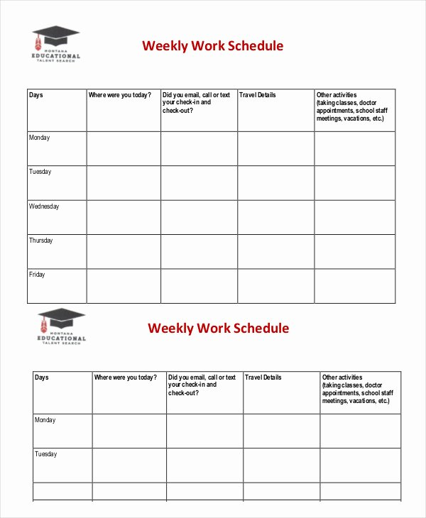 Weekly Work Schedule Template Pdf Beautiful Weekly Schedule Template 10 Free Word Excel Pdf
