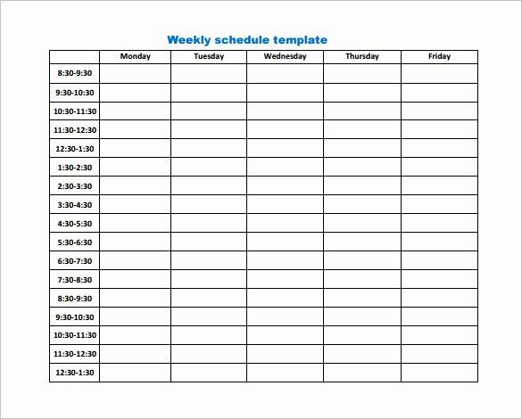 Weekly Work Schedule Template Pdf Elegant 9 Weekly Work Schedule Templates Pdf Docs
