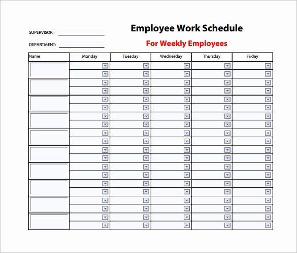 Weekly Work Schedule Template Pdf Fresh 9 Weekly Work Schedule Templates Pdf Docs