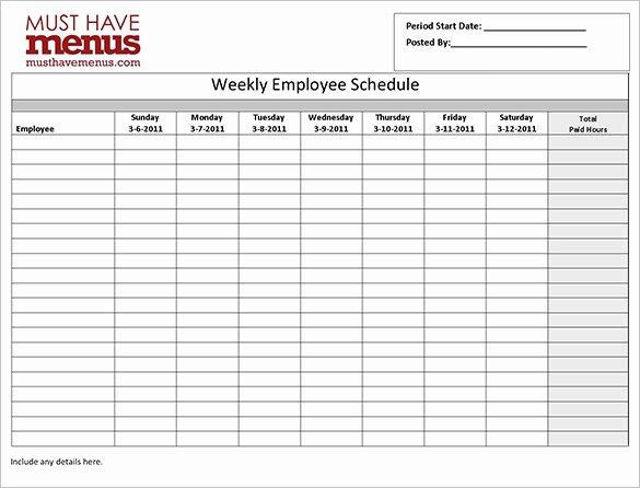 Weekly Work Schedule Template Pdf Fresh Employee Work Schedule Template 17 Free Word Excel