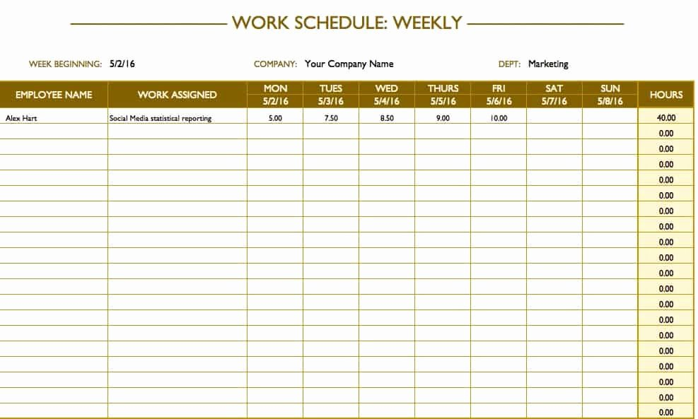Weekly Work Schedule Template Pdf New Free Work Schedule Templates for Word and Excel