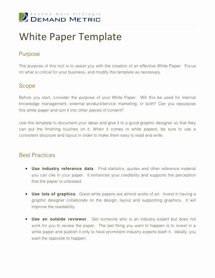 White Paper Outline Template Fresh White Paper Template