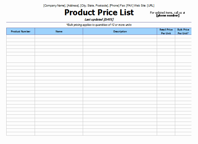 Wholesale Price List Template Lovely 8 Price List Templates to Make Any Kind Of Price List