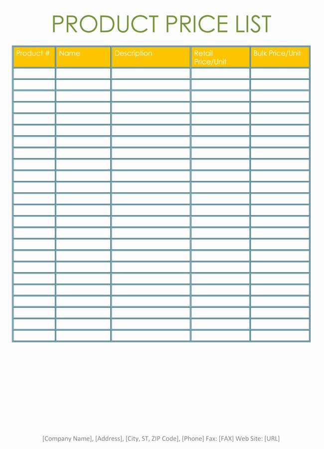 Wholesale Price List Template Lovely Price List Templates Free Samples and formats for Excel