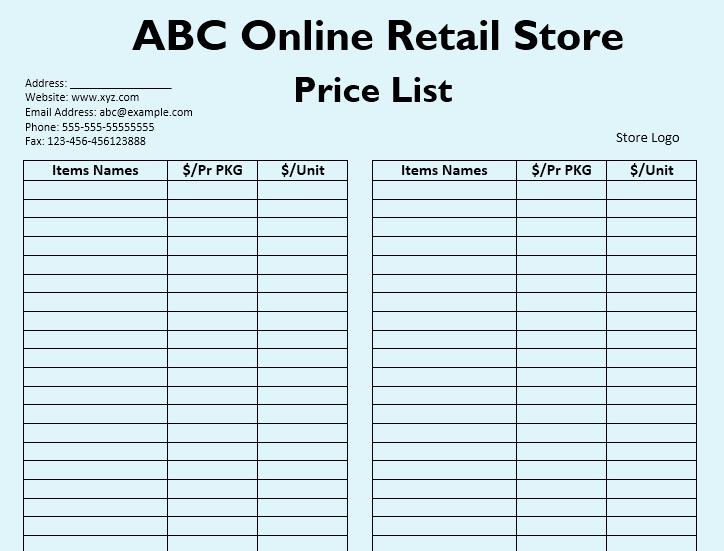 Wholesale Price List Template Unique wholesale Price List Templates 12 Free Templates