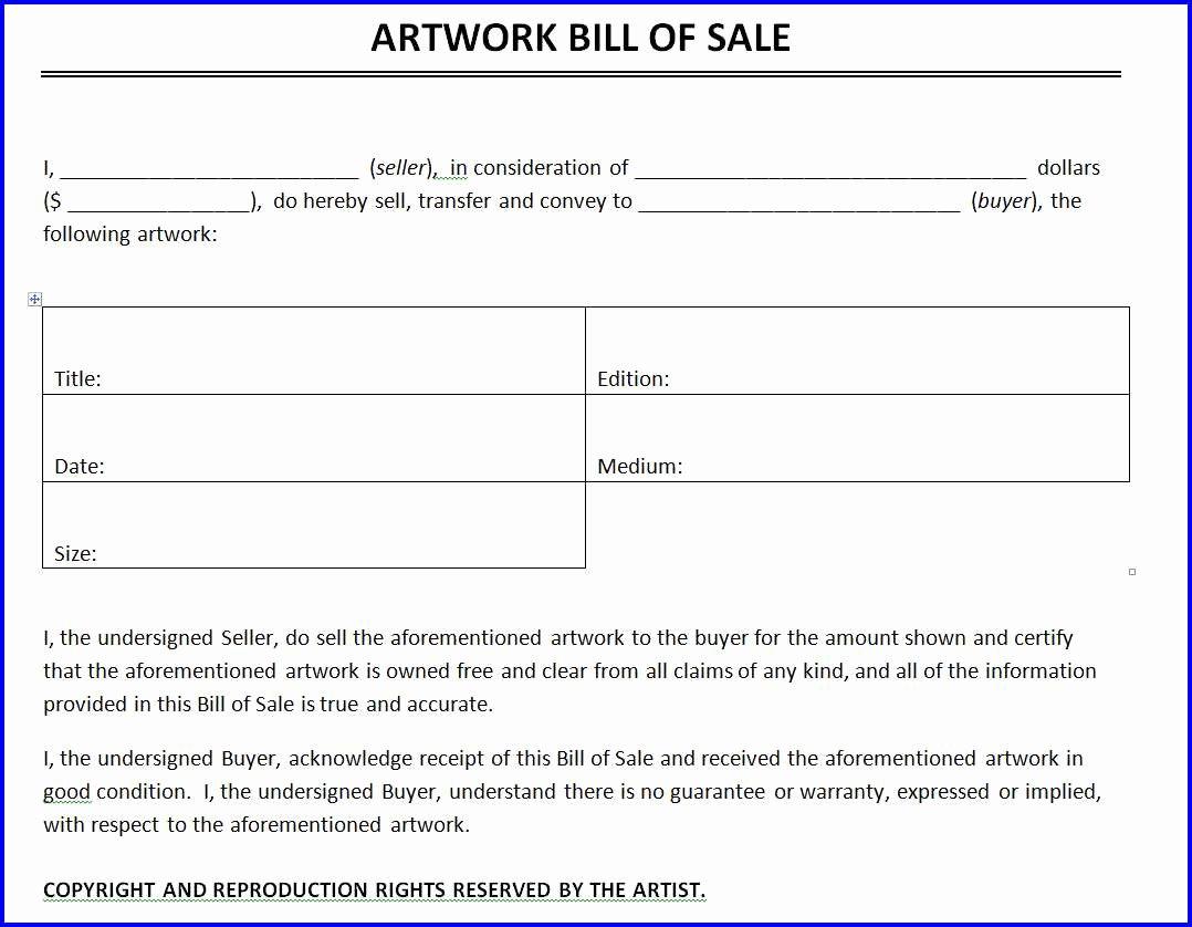 Word Bill Of Sale Template Fresh Artwork Bill Of Sale Template Ms Word Templates Ms