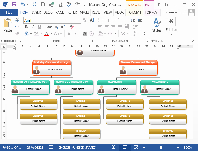 Word org Chart Templates Fresh to Create organizational Chart In Ms Word Programs