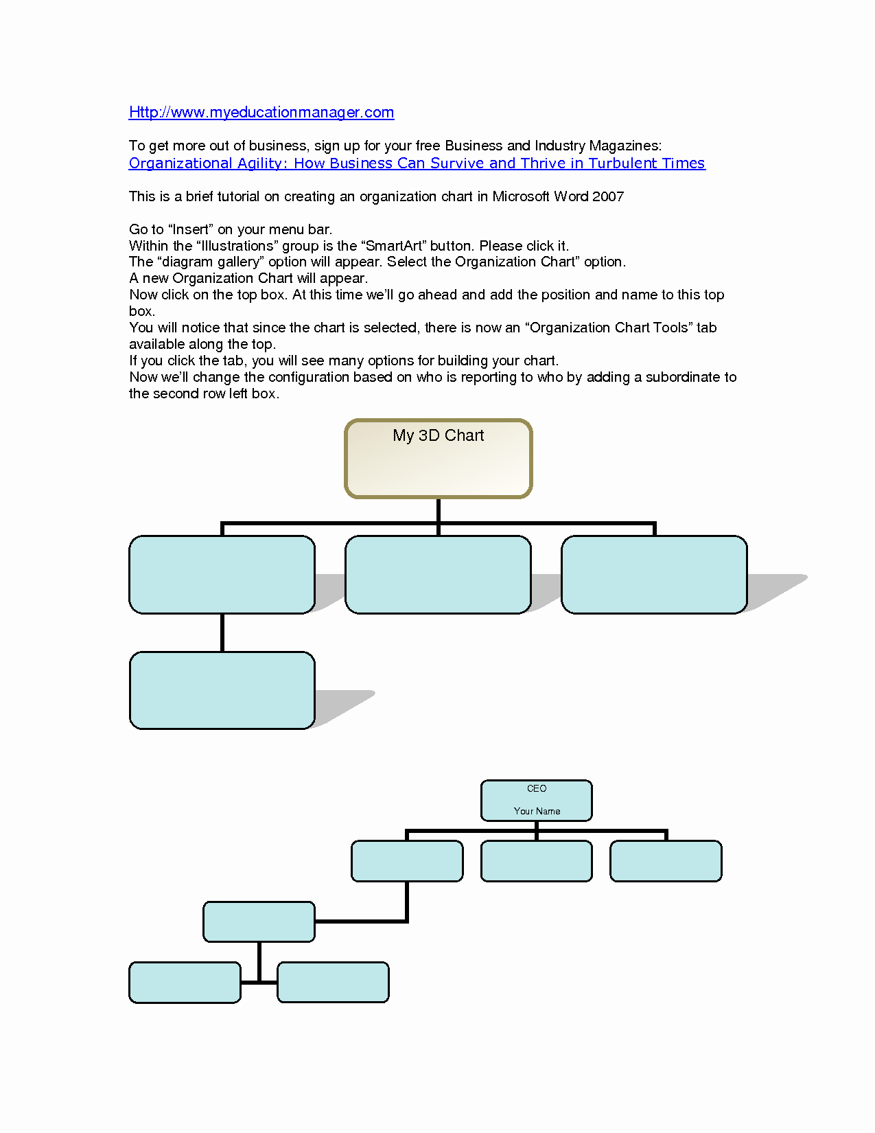 Word organization Chart Template Awesome organizational Chart Template Word