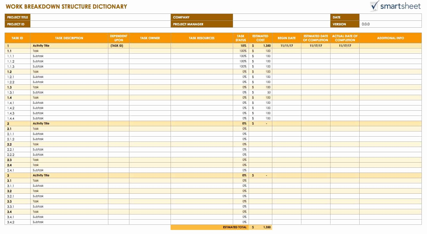 Work Breakdown Structure Excel Template Beautiful Free Work Breakdown Structure Templatessmartsheet