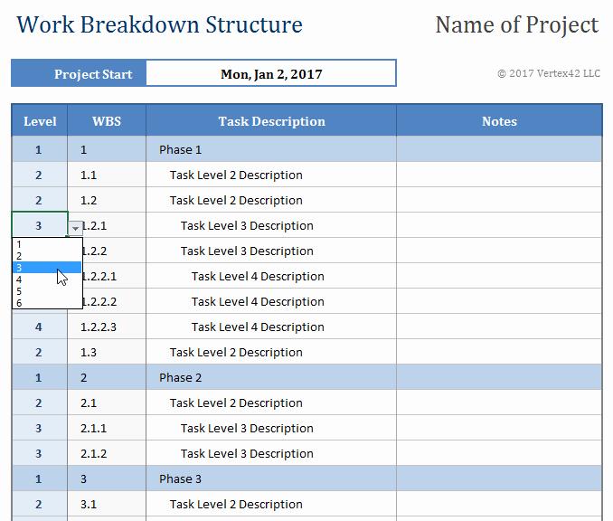 Work Breakdown Structure Excel Template Luxury Work Breakdown Structure Template