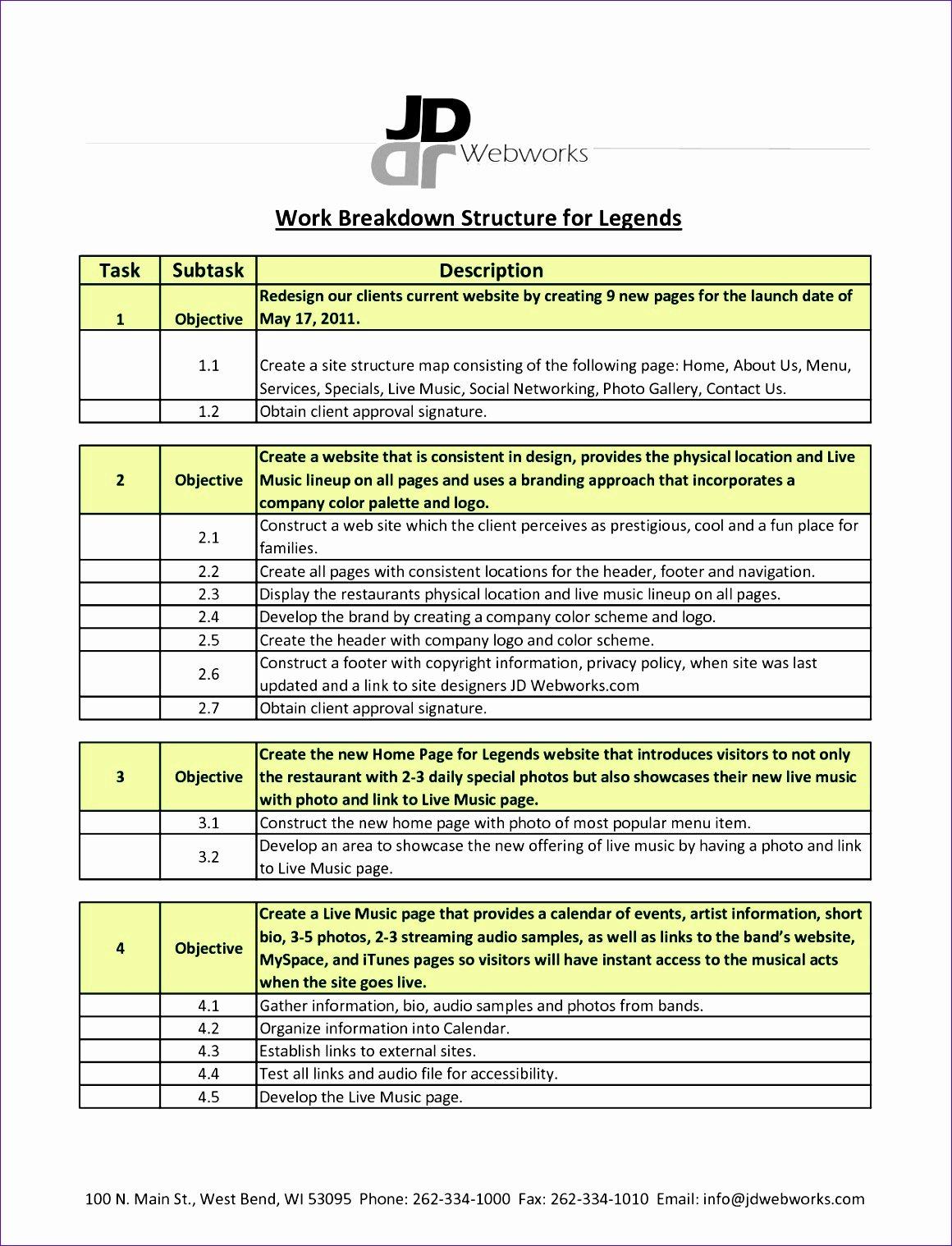 Work Breakdown Structure Excel Template Unique 9 Excel Work Breakdown Structure Template Exceltemplates
