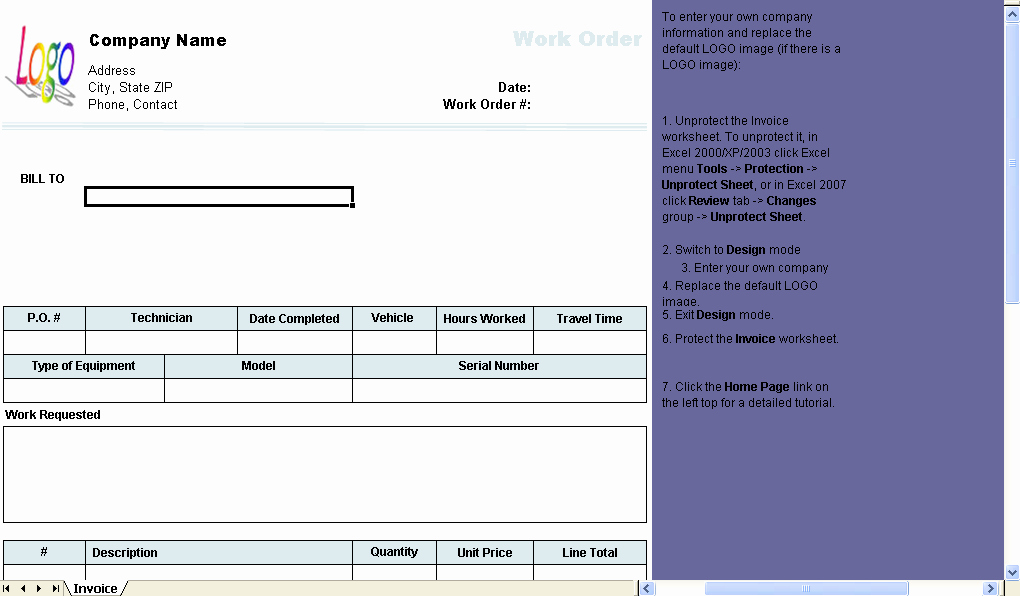Work order Template Excel Best Of Work order Template Invoice Manager for Excel