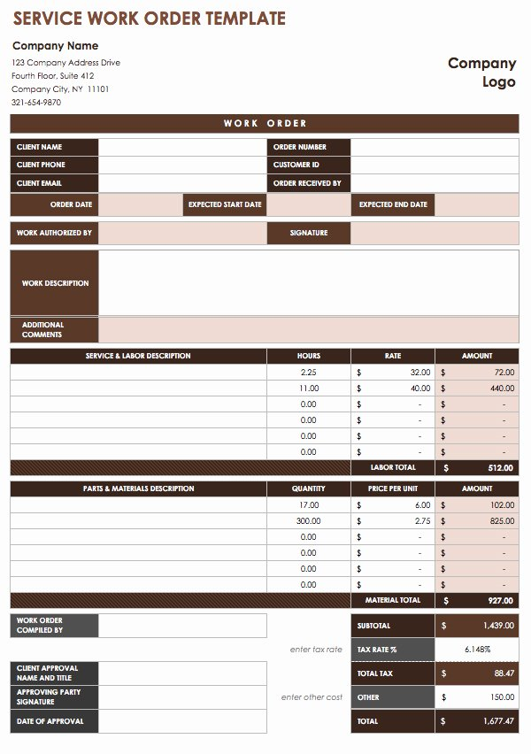 Work order Template Excel Inspirational 40 Work order Template Free Download [word Excel Pdf]