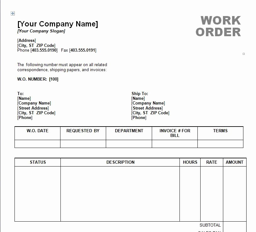 Work order Template Excel Inspirational Work order Template Word
