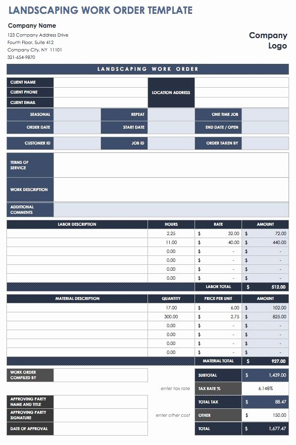 Work order Template Excel Lovely 40 Work order Template Free Download [word Excel Pdf]